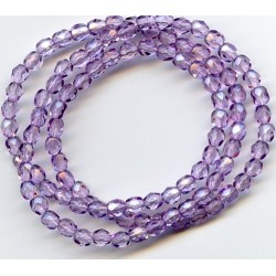 16 Inch Strand 4mm Lilac Czech Fire Polished Crystals
