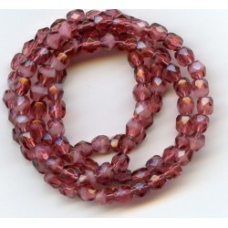 16 Inch Strand 4mm 2 Tone Pink Czech Fire Polished Crystals