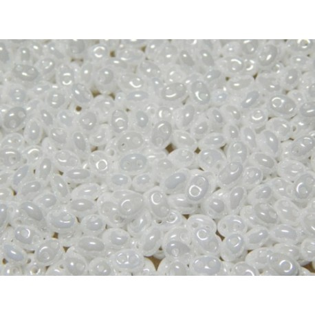 12 Grams White Luster Twin Hole Beads