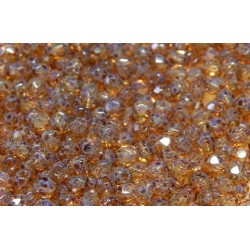 100 Pack 3mm Tortoise Gold Czech Fire Polished Crystals