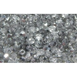 100 Pack 3mm Silver /Crystal two tone Czech Fire Polished Crystals