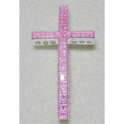 Pink Enamel Curved Cross Bead