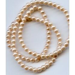 4mm Glass Pearls Peach 16 Inch Strand