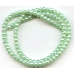 4mm Glass Pearls Mint 16 Inch Strand