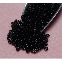 8 Grams 3.8 x 1 Czech Glass O Beads Black