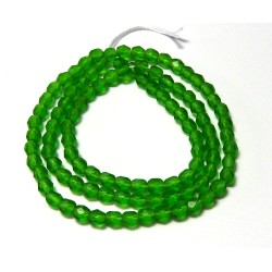 16 Inch Strand 4mm Matte Apple Green Czech Fire Polished Crystals