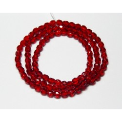 16 Inch Strand 4mm Ruby Red Czech Fire Polished Crystals