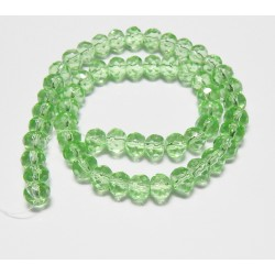 8x6 mm Faceted Pale Green Glass Rondelle 14 inch Strand