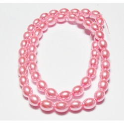 8x6 mm Dark Pink Glass Pearl Oval