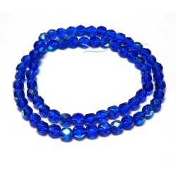 16 Inch Strand 6mm Lt. Cobalt AB Czech Fire Polished Crystals