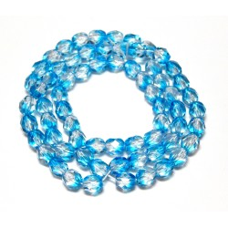 16 Inch Strand 6mm Crystal/Aqua Czech Fire Polished Crystals