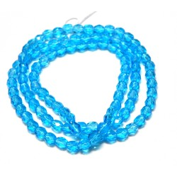 16 Inch Strand 4mm Medium Aqua Czech Fire Polished Crystals