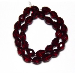 7x9 mm Dark Ruby Faceted Czech Fire Polished Crystals Approx 30 per strand