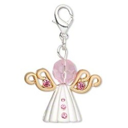 26x21mm Angel Charm with Pink & Silver