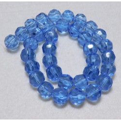 10 mm Faceted Round Blue Glass Beads 14 Inch Strand