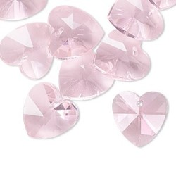 14mm Pink Celestial Crystal Hearts Qty 10