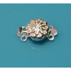 9 mm 2 Strand Tab Filigree Round Clasp Sliver Plated