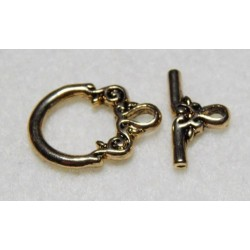 14 mm Fancy Antiqued Gold Plated Fancy Toggle Clasp