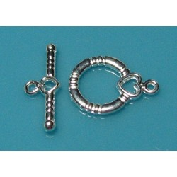 14 x 13 mm Round Toggle Clasp with Hearts
