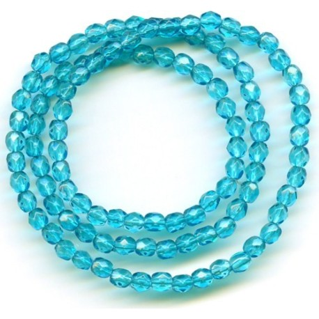 16 Inch Strand 4mm Turquoise Dipped Czech Fire Polished Crystals