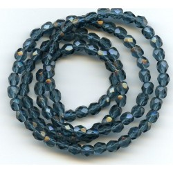 16 Inch Strand 4mm Montana Blue Czech Fire Polished Crystals