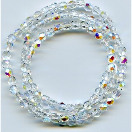 16 Inch Strand 4mm Crystal AB Czech Fire Polished Crystals