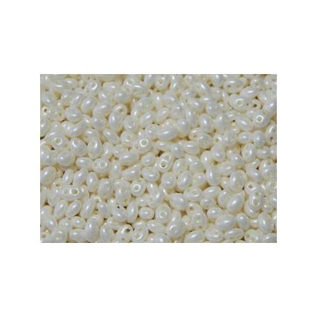 12 Grams Pearl Cream Twin Hole Beads
