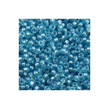 50 Grams 11-2261 Lt. Gray Lined Aqua AB Seed Beads