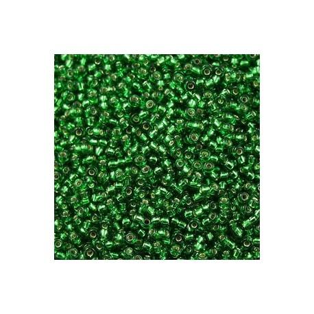 50 Grams 11-16 Miyuki Silver Lined Green Seed Beads