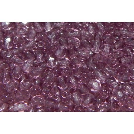 100 Pack 3mm Amethyst Czech Fire Polished Crystals