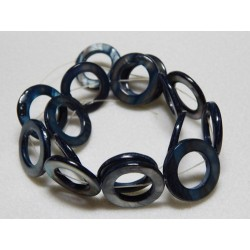Mother Of Pearl Circle Beads 1 strand Montana Blue
