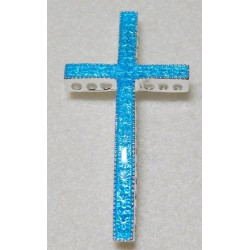 Light Blue Enamel Curved Cross