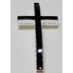 Black Enamel Curved Cross Bead