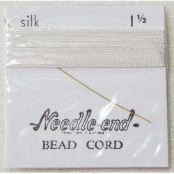 Thread, Silk White Size 1.5 Pre-Threaded Twisted Beading Needle