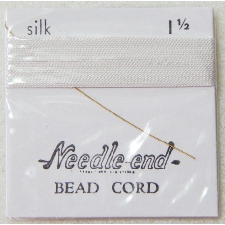Thread, Silk White Size 1.5 Pre-Threaded Twisted Beading Needle