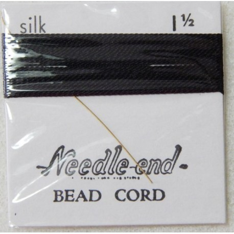 Thread, Silk Black Size 1.5 Pre-Threaded Twisted Beading Needle