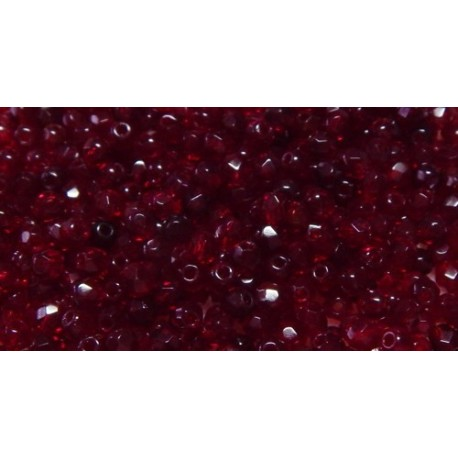 100 Pack 3mm Garnet Czech Fire Polished Crystals
