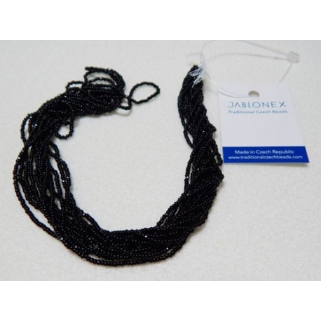 Czech Charlottes Size 13/0 Seed Beads Black (6 strands 10 Grams)