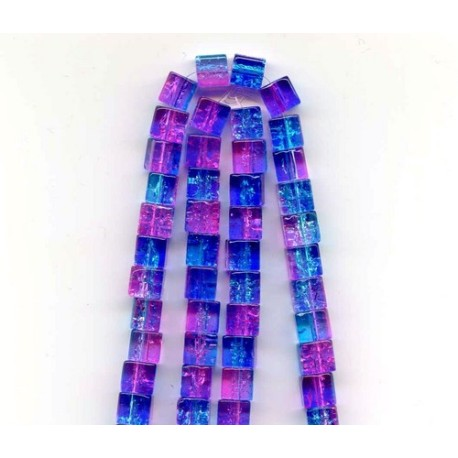 6 x 6 mm Blue and Pink Crackle Cubes 16 Inch Strand Approx 62 Beads
