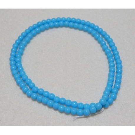 16 Inch Strand 4mm Opaque Turquoise Blue Round Czech Druk Beads
