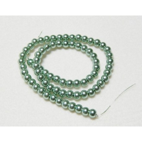 Teal Glass Pearls 6 mm Round 16 Inch Strand