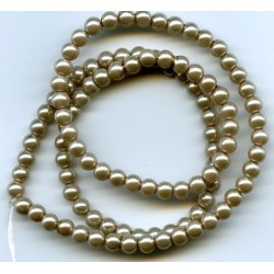 4mm Glass Pearls Dark Beige 16 Inch Strand