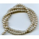 4mm Glass Pearls Beige 16 Inch Strand