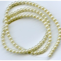 4mm Glass Pearls Ivory 16 Inch Strand