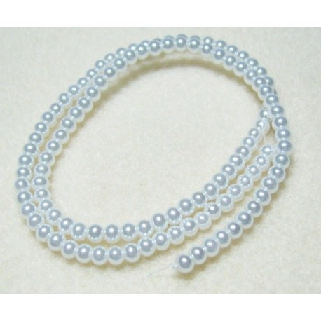 4mm Glass Pearls White 16 Inch Strand