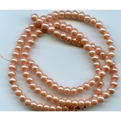 4mm Glass Pearls Dark Peach 16 Inch Strand