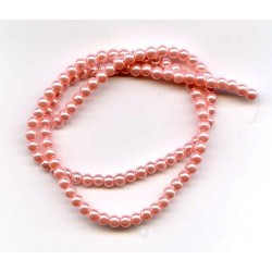 4mm Glass Pearls Pink 16 Inch Strand