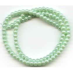 4mm Glass Pearls Mint 16 Inch Strand