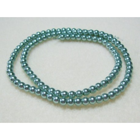4mm Glass Pearls Teal 16 Inch Strand