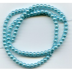 4mm Glass Pearls Turquoise Blue 16 Inch Strand